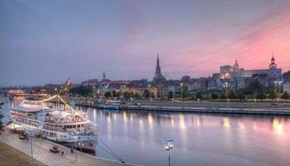 Panorama of the city at dusk. Szczecin, Poland.