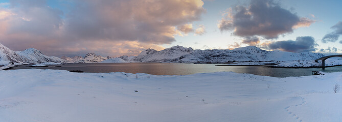 Panorama Norway,Lofoten high resolution; big panorama; beautiful sunset