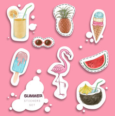 Hand drawn stickers set for summer holiday, travel, beach vacation, sun.