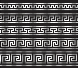 Greek seamless mosaic ornament, seamless vintage traditional ornaments.