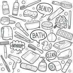 Bathroom WC Tools Doodle Icon Hand Draw Line Art