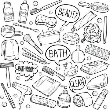 Bathroom WC Tools Doodle Icon Hand Draw Line Art