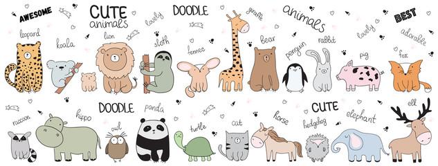Vector cartoon sketch illustration with cute doodle animals