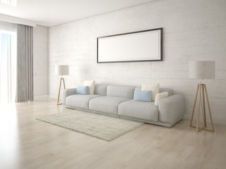 Mock up a creative living room with a light comfortable sofa and a stylish background.