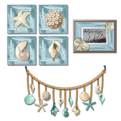 The set of murals and paintings with exotic seashells and clams and the interior elements on the marine theme isolated on white background. Vector cartoon close-up illustration.