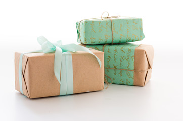A variety of gift boxes. Boxes on a white background.