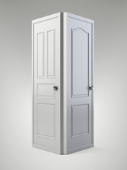 Two white doors that are next to each other.