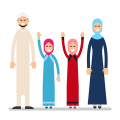 Muslim family. Muslim arabic couple with children in different suit and traditional clothes standing. Parents with kids, mother, father and two daughter. Illustration in flat style. Isolated