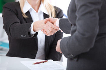 Business handshake. Two business women shake hands with each other to sign a successful deal