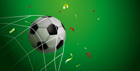 Soccer ball goal web banner of sport game event