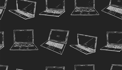 Seamless texture with white laptops on a black background. Technology theme. Hand drawn elements.