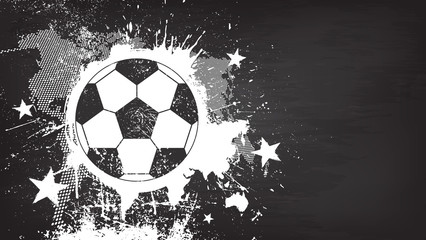 Grunge abstract football background with world map and dust particle on blackboard texture . Flat design . Vector for international world championship tournament cup 2018
