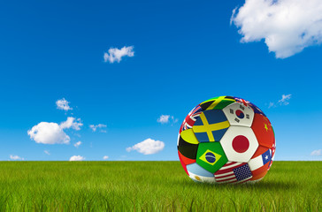 Soccer football with country flags isolated on lush grass and blue sky. World championship. 3d illustration.