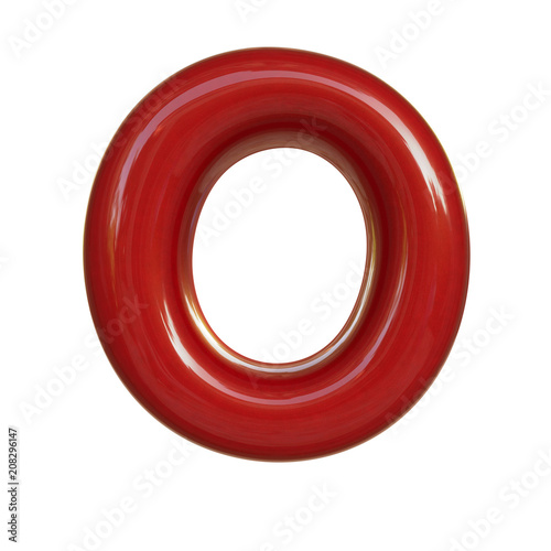Glossy Red Paint Letter O 3d Render Of Bubble Font Isolated On