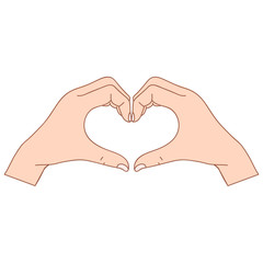 Two polygonal hands folded in the form of a heart on a white background