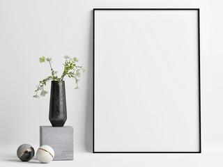 Mock up poster Mock up empty frame with decoration composition, 3d render, 3d illustration