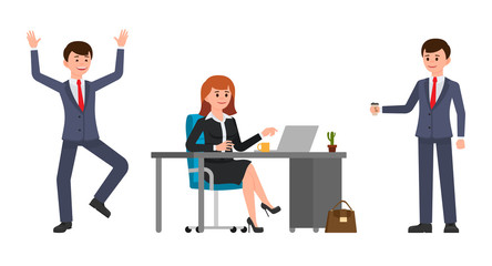 Young woman sitting at the desk, using laptop. Young man holding coffee, happily laughing. Vector illustration of cartoon character casual working day