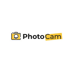 Creative logo with photo camera. Sign for the photographer. Black line with yellow background