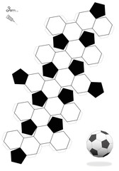 Truncated Icosahedron. Soccer ball template for making a 3d object out of the net with twelve black pentagonal and twenty white hexagonal faces. Print it, cut it out, fold and glue it.