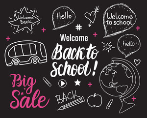 Back to school wide banner. Vector hand draw set elements on black chalk board.