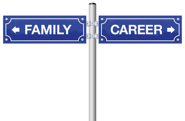 CAREER or FAMILY, written on street signs - go for business, job and success or go for being mother or father - isolated vector illustration on white background.
