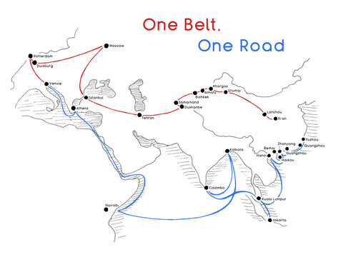 One Belt One Road new Silk Road concept. 21st-century connectivity and cooperation between Eurasian countries. Vector illustration