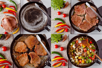 Pork steak roast on rustic pan, fresh hot chili peppers, tomato and herbs. Mix of fresh vegetables fried in the rustic pan. Collage of set photos.