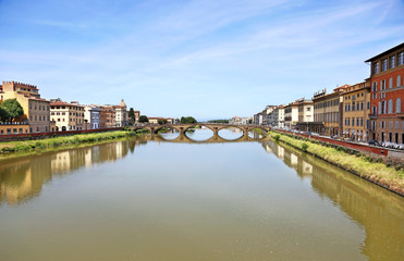 landscape of the Arno river in Florence or Firenze city Italy