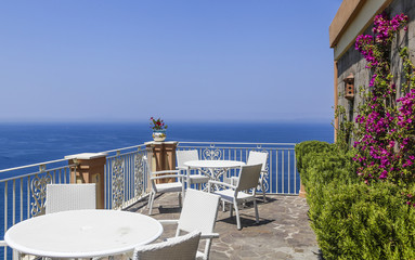 View from hotel to Mediterranean Sea. Vico Equense. Italy