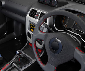 Salon of a sports car. The dashboard and its individual parts. 3D illustration.