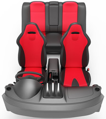 Interior of a sports car. Interior elements on a white background.
