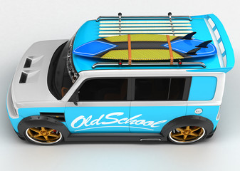 Youth car for outdoor activities. Completed in the style of the old school. The machine for surfers.