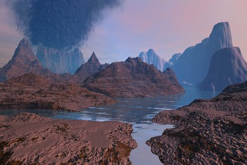 Volcano, a rocky landscape, river among the mountains, pink clouds and black smoke in the sky.