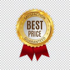 Best Price Golden Shiny Label Sign. Vector Illustration