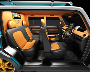 Interior of a youth car for outdoor activities. Exibition for the competition of automotive music. Completed in the style of the old school.