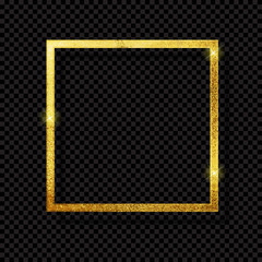 Abstract Shiny Golden Frame  Luxury  on Transparent Background. Vector Illustration