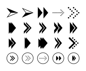 Set of simple black arrows in vector format. Decorative signs and symbols.