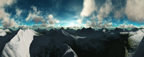 beautiful view of a mountain landscape with clouds at sunset,