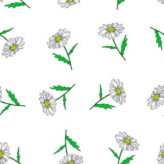 Vector seamless retro pattern, flowers chamomile. Can be used for web page background, pattern fills, wallpaper, surface textures.