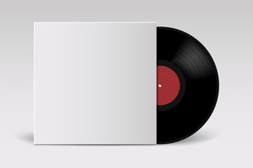 Realistic Vinyl Record with Cover Mockup. Retro design. Front view.