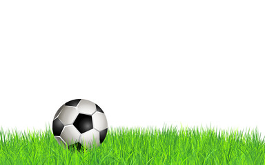 Football ball on field. Background with soccer ball on grass. Vector illustration. Element for design poster, banner, card, flyer