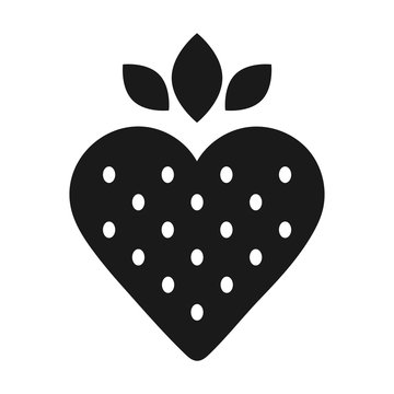 Simple, flat, black and white strawberry icon. Isolated on white
