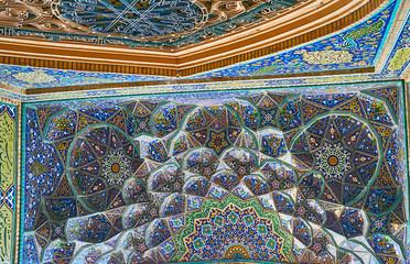 Muqarnas decoration of Hussainiya in Kerman, Iran