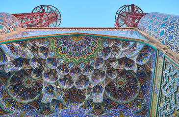 Persian decorations of Safe Azakhane Mosque in Kerman, Iran