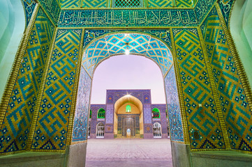 The Jame Mosque through the arch, Kerman, Iran
