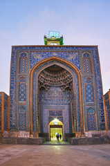 The tall portal of Friday Mosque in Kerman, Iran