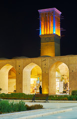 Illuminated Ganjali Khan Square, Kerman, Iran