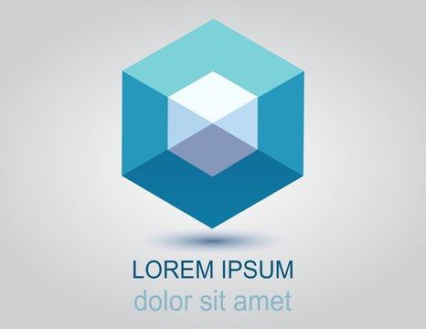 Logotipo prisma azul rombo