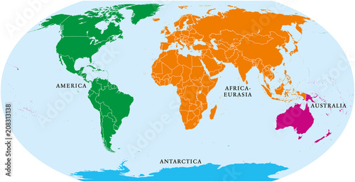 Four continents world map america africa eurasia australia and four continents world map america africa eurasia australia and antarctica political gumiabroncs Image collections