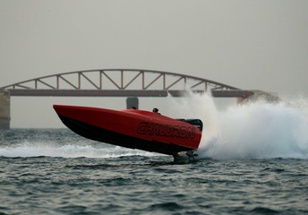 A Chaudron powerboat takes part in a display during the Valletta Pageant of the Seas festival in Valletta's Grand Harbour